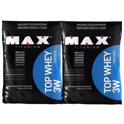 combo 2x top whey 3w - 1800g refil morango - max titanium