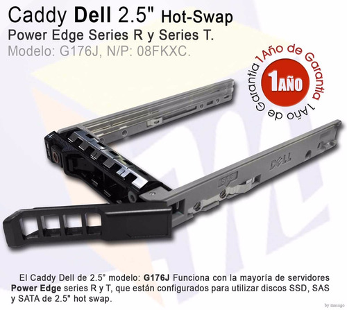 combo 3 caddy dell 2.5 g176j hot swap para power edge 08fkxc