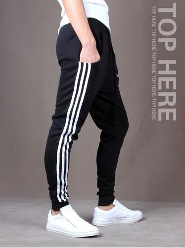 combo 3 calça de moleton masculina saruel skinny sport luxo