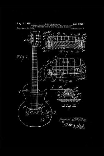 combo 3 cuadros blueprints esquema guitarra fender 40 x 60