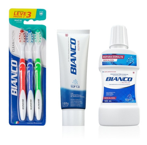 combo 3 escovas de dente + creme dental repair + enxaguante