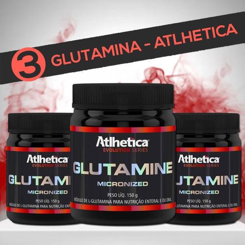 combo 3 glutaminas micronizadas (150g - cada pote) - atlheti