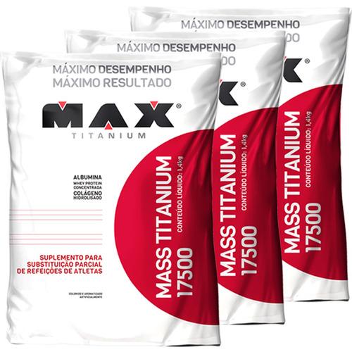 combo 3 hipercalórico mass titanium 17500 1,4kg max titanium