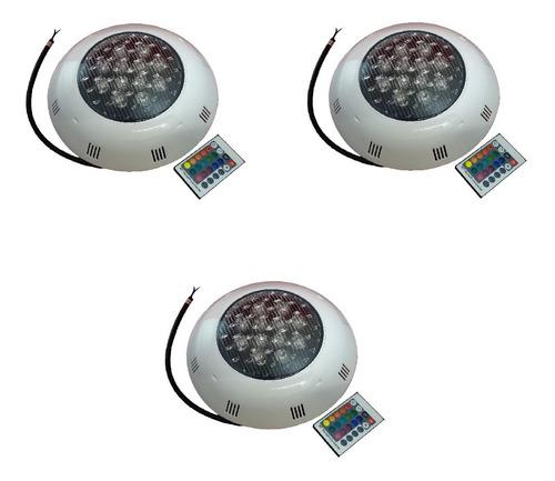 combo 3 luces optica pileta led color rgb control + fuente