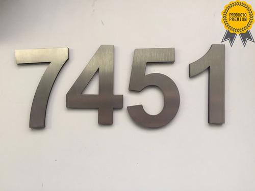 combo 3 números domiciliarios 15cm casas edif acero inox 4mm