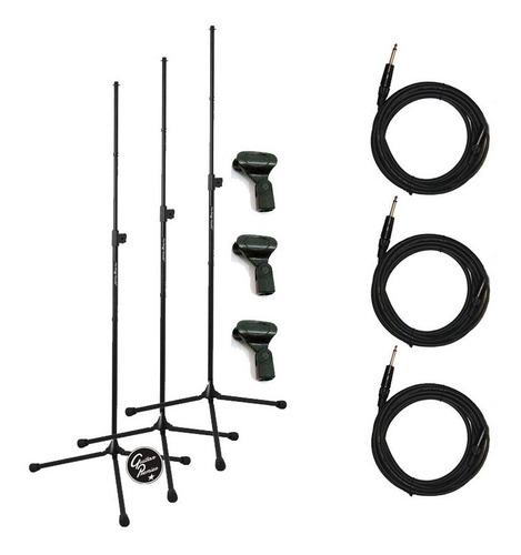 combo 3 pie de microfono 3 pipetas 3 cables garantia oficial