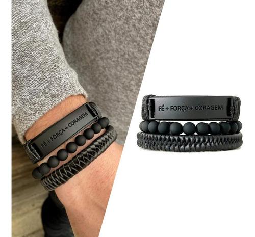 combo 3 pulseiras masculinas regulável preto fosco ajustável