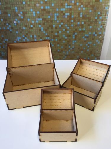 combo 30 cofres souvenir fibrofacil corte láser.9x6x7