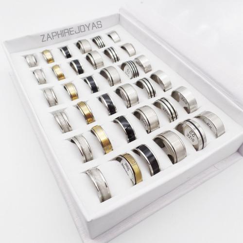 combo 36 anillos surtidos unisex acero quirúrgico xmayor