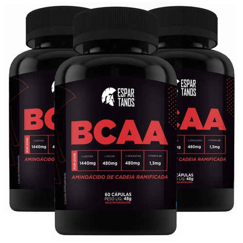 combo 3x bcaa - espartanos nutrition