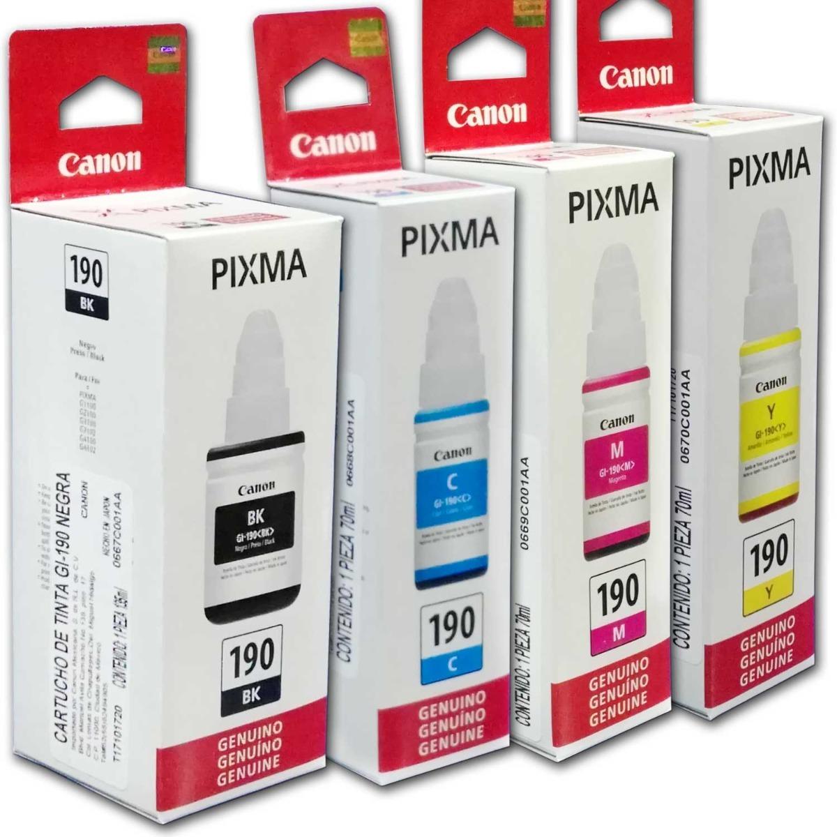 Combo 4 Botella Tinta Canon Gi 190 Negro Cian Magenta Amaril