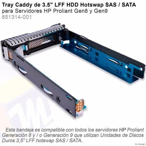 combo 4 caddy hp 3.5 para proliant g8 g9 hot swap 651314-001