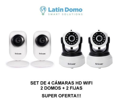 combo 4 cámaras hd wifi - 2 domos + 2 fijas