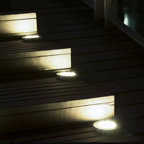 combo 4 estacas solar 8 led spot embutir alto brillo jardin