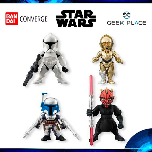combo 4 figuras de acción mini star wars - bandai converge