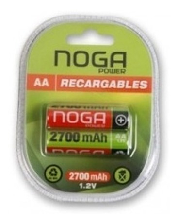 combo 4 pilas pila aa noganet power recargables + duracion pack set