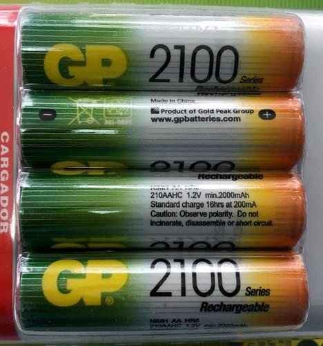 combo 4 pilas recargables 2100 mah tamaño aa + cargador gp