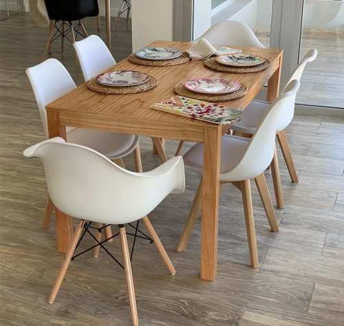 combo 4 sillas + 2 sillones dsw diseño moderno pata madera - eames