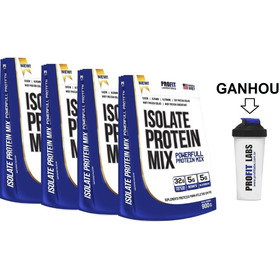 Combo 4 Whey Protein Isolado Isolate Mix Refil 900g + Brinde