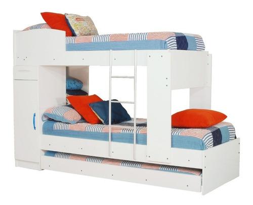 combo 45 cama cucheta triliche + comoda 4 cajones1 puerta