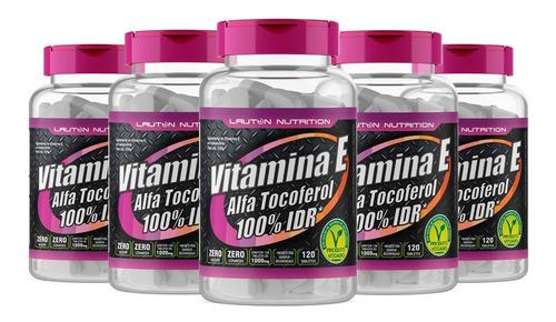 combo 5 potes vitamina e - 10mg - 120 tabs lauton nutrition