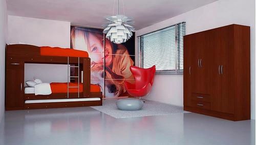 combo 51 cama cucheta triliche 1 plaza + placard 6 puertas
