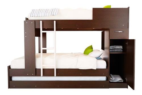 combo 56 cama cucheta triliche + chifonier 5 cajones mosconi