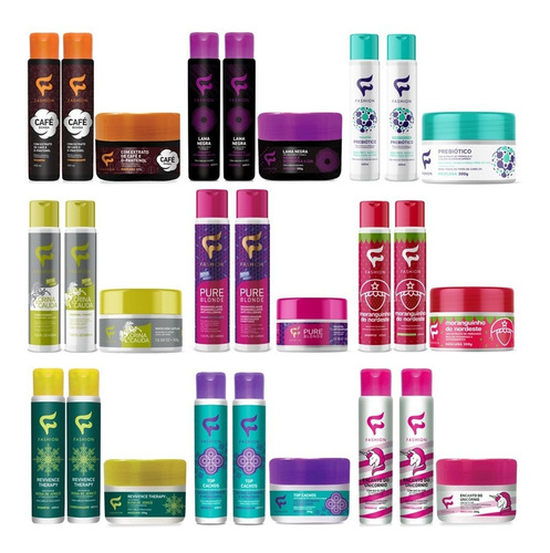 combo 6 kit capilar tratamento fashion cosméticos escolha