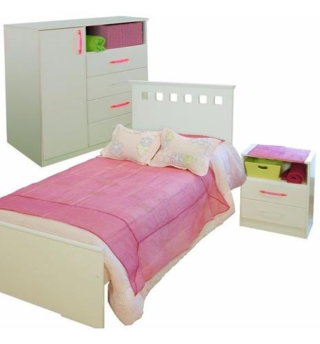 combo 60 cama 1 plaza + comoda 4 cajones + mesa luz mueble