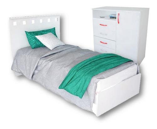 combo 7 cama mueble 1 plaza juvenil + comoda puerta cajones