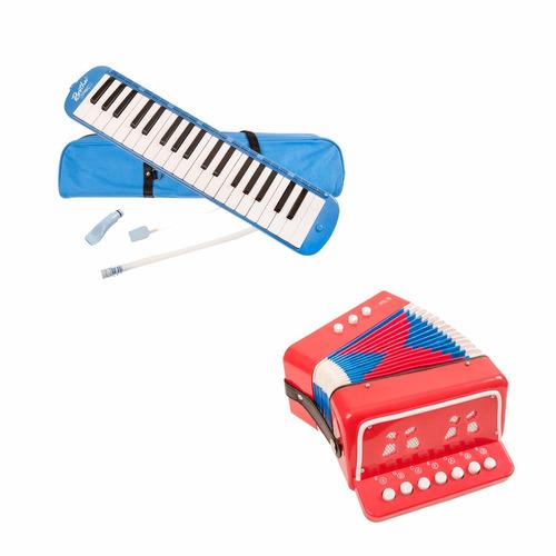 combo acordeon + melódica azul epic para niños