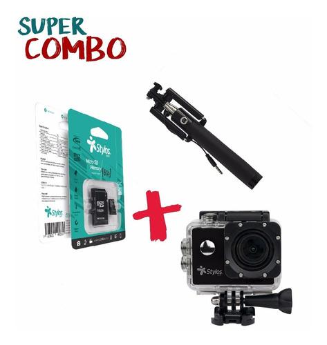 combo: action cam 2  + micro tf 8gb + selfie stick + envío
