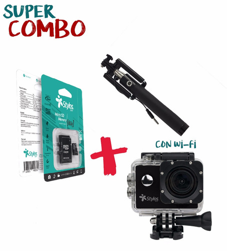 combo action cam wi-fi + micro tf 8gb + selfiestick + envío