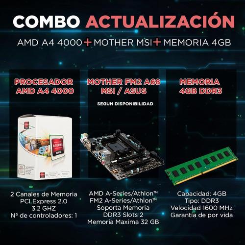 combo actualizacion pc amd a4 4000 + mother fm2 hdmi + 4gb