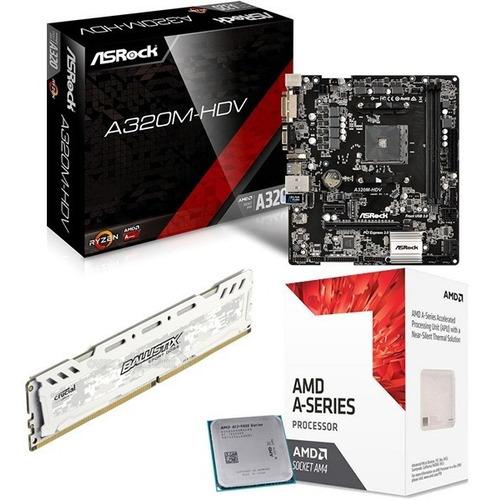 combo actualización pc amd apu a8 9600 3.8ghz ddr4 4gb 2400 mother a320m hdmi