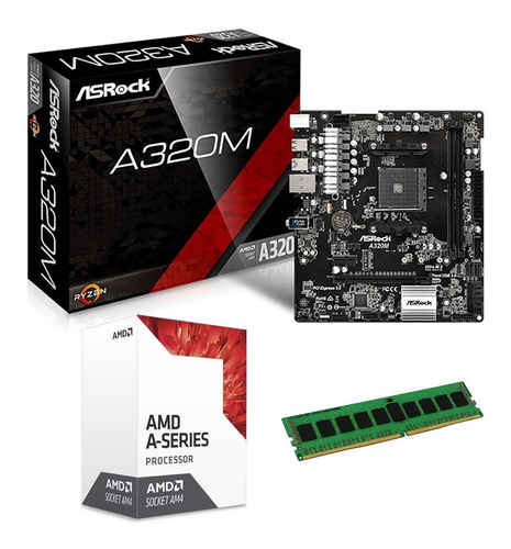 combo actualización pc amd apu a8 9600 3.8ghz ddr4 4gb 2400 mother a320m hdmi