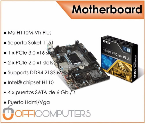 combo actualización pc intel core i5 7400 + 8gb ddr4 mb msi