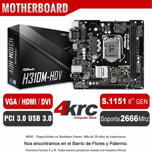 combo actualizacion pc intel i3 8100 mother h310m con ddr4 4gb 2400mhz vga y hdmi