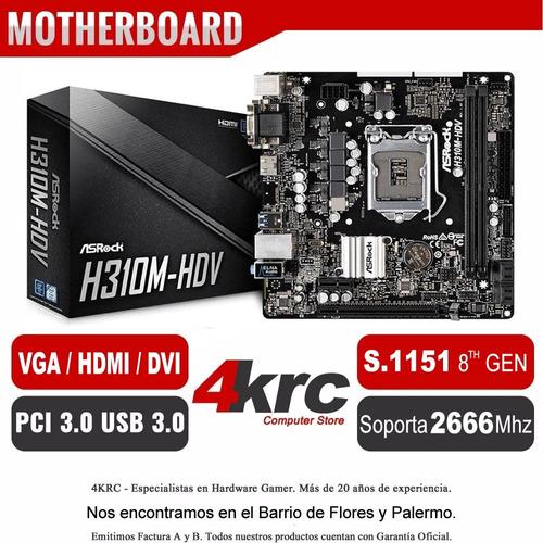 combo actualizacion pc intel i5 8400 4.0ghz mother h310m con ddr4 8gb 2400mhz vga y hdmi