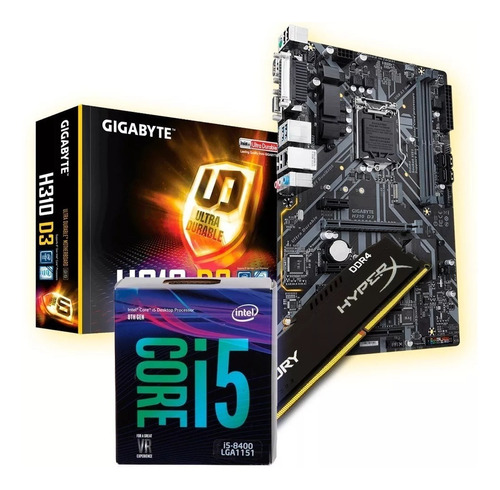 combo actualizacion pc intel i5 8400 4.0ghz mother h310m con ddr4 8gb 2400mhz vga y hdmi