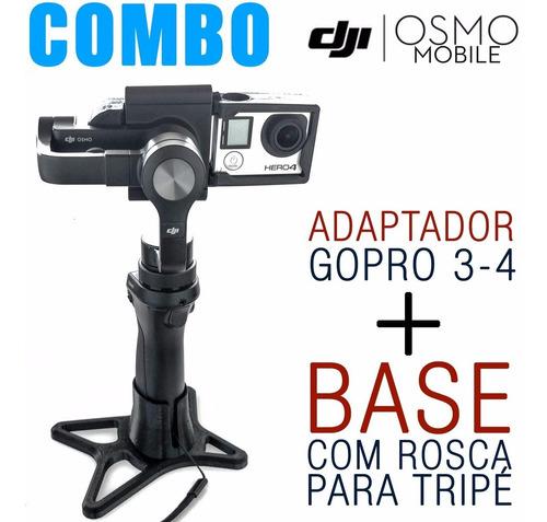 combo adaptador gopro3-4 + base com rosca tripé - desconto