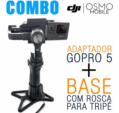 combo adaptador gopro5 + base com rosca tripé - desconto