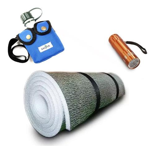 combo aislante termico para bolsa + linterna + cantimplora