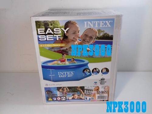 combo alberca easy set 2.44 m intex + bomba filtro +cubierta