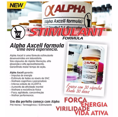 combo alpha 3 x axcell 30 caps 210mg cafeína power supplemen