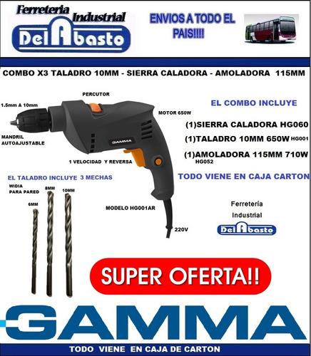 combo amoladora 710w + taladro 10mm + sierra caladora gamma