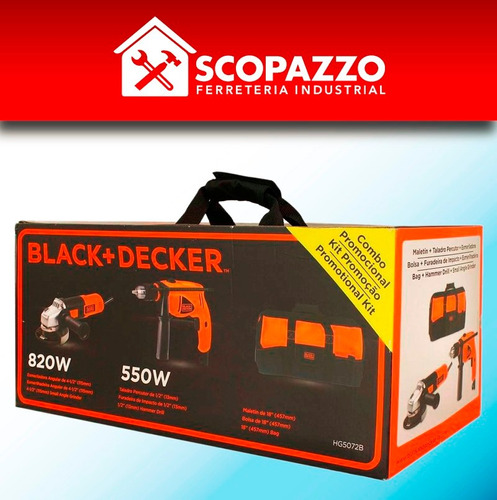 combo amoladora black decker g720 + taladro hd500 c/ maletin