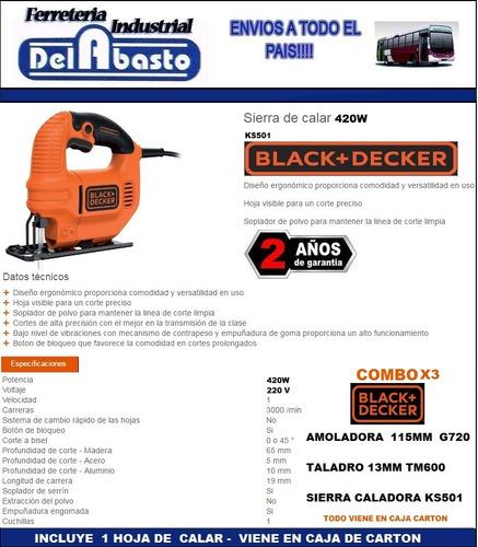 combo amoladora + taladro 13m + sierra caladora black decker