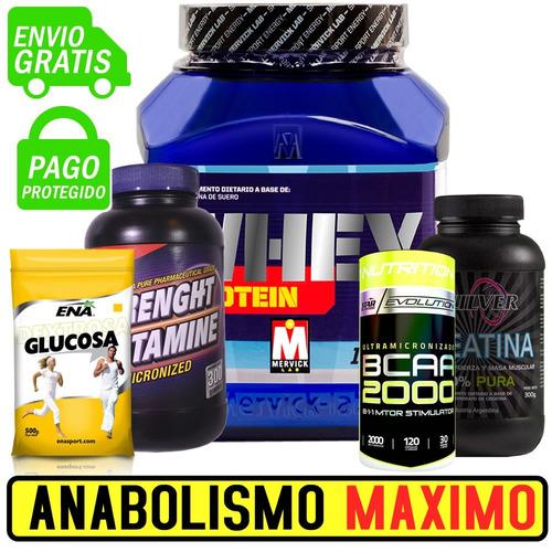 combo anabol 5 suplementos proteína glutamina bcaa creatina