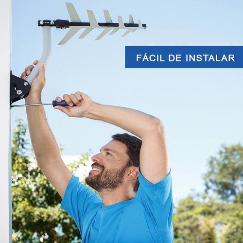 combo antena externa digital + suporte + cabo 16m aquário